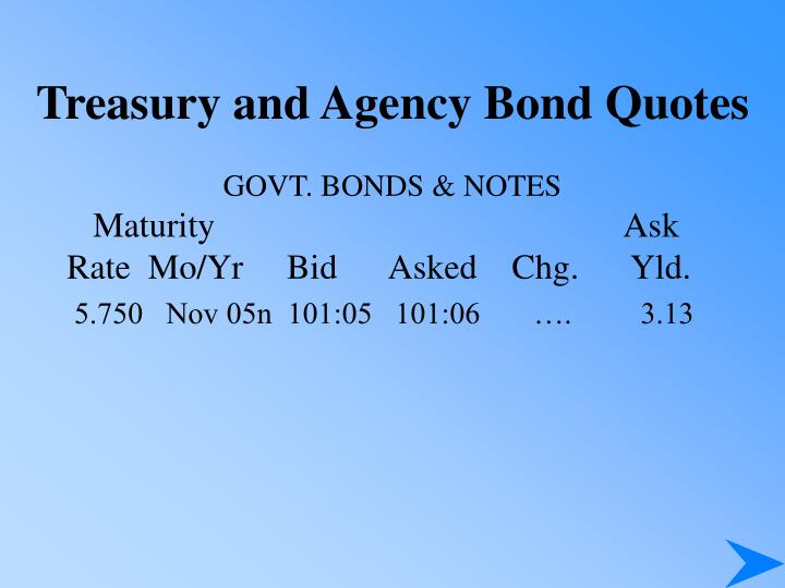 Treasury and Agency Bond Quotes