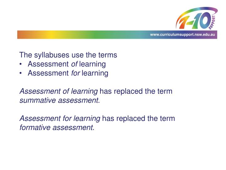 The syllabuses use the terms