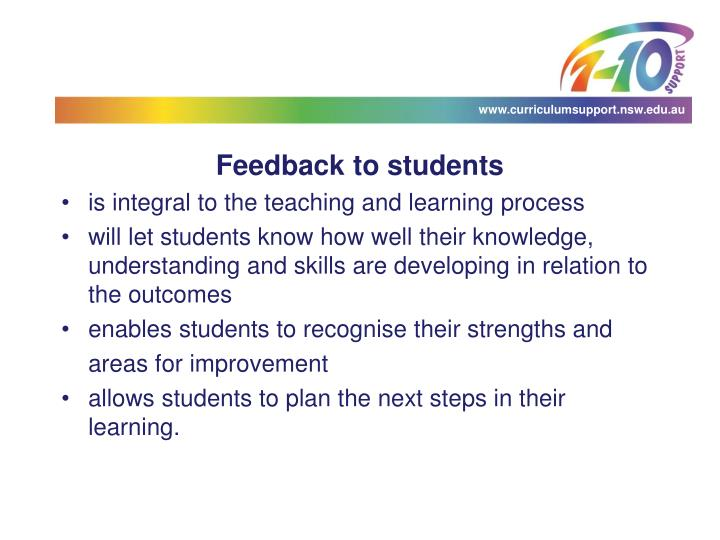 Feedback to students