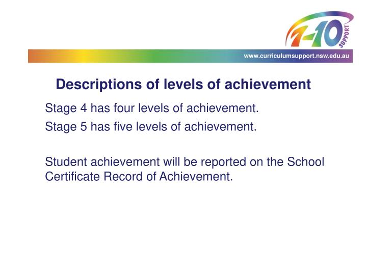 Descriptions of levels of achievement