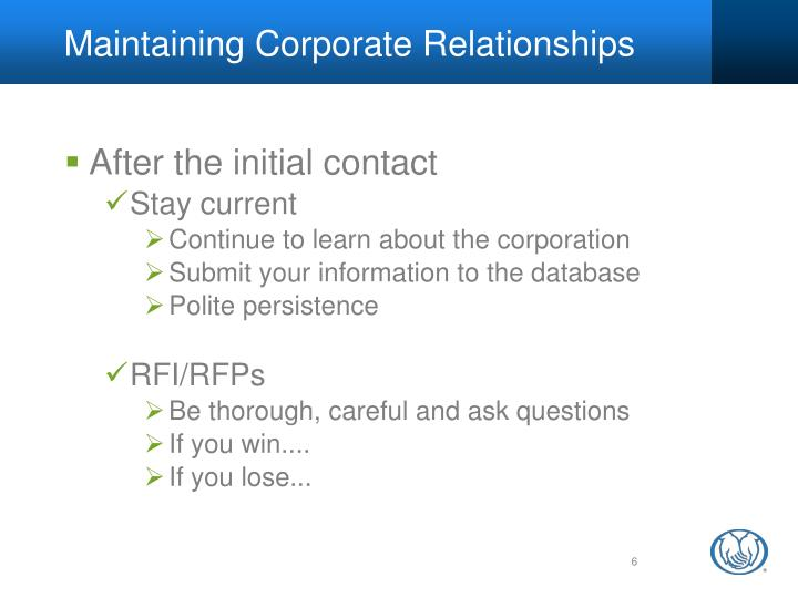 Maintaining Corporate Relationships