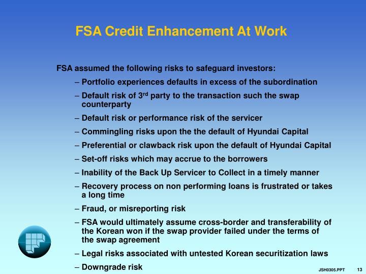 FSA Credit Enhancement At Work