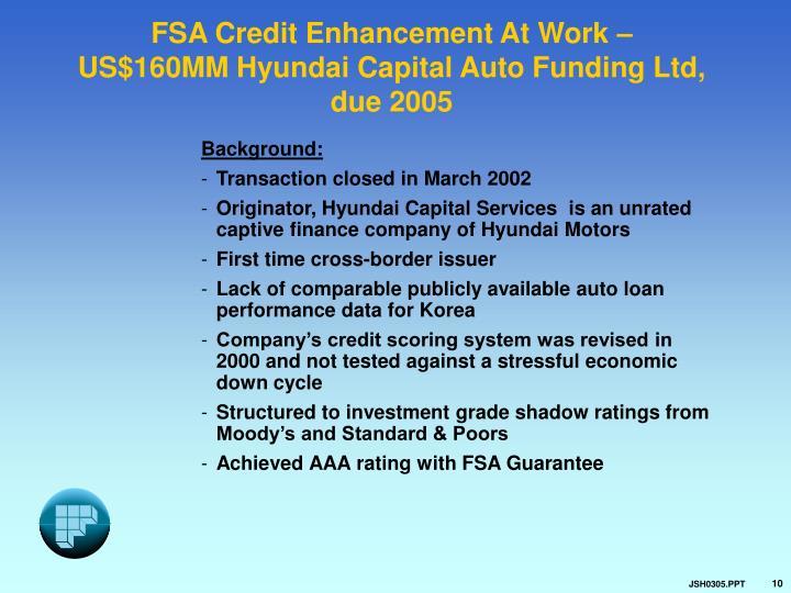 FSA Credit Enhancement At Work –