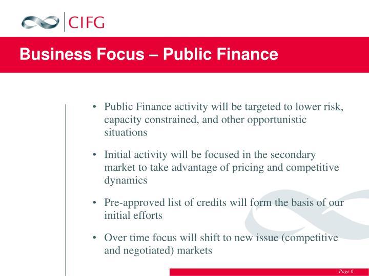Business Focus – Public Finance