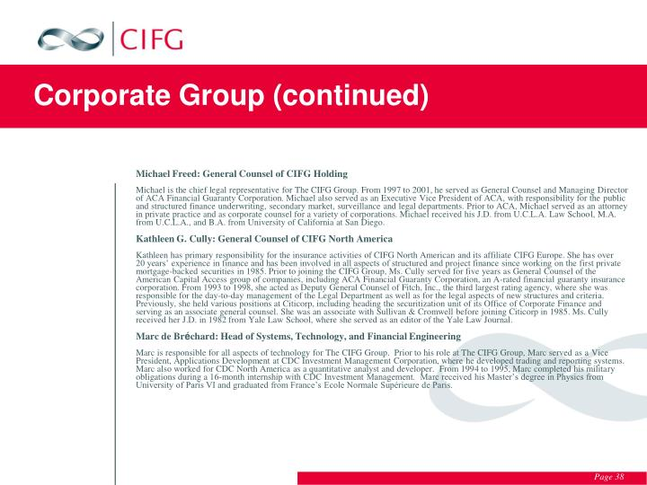 Corporate Group (continued)