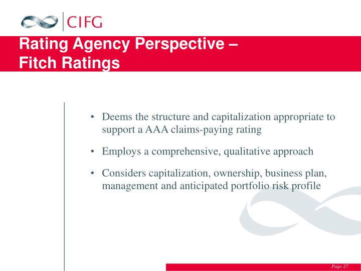 Rating Agency Perspective –