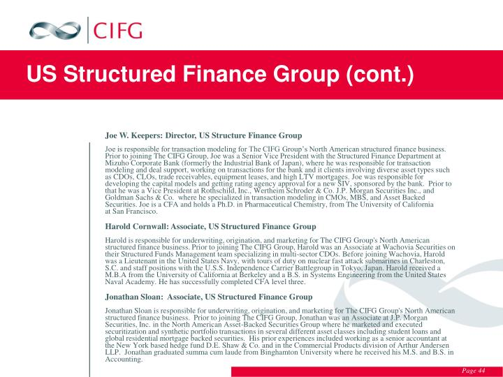 US Structured Finance Group (cont.)
