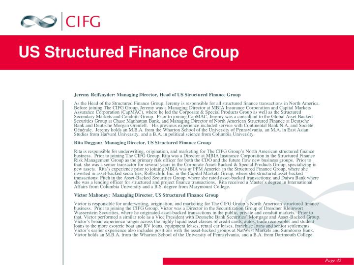US Structured Finance Group