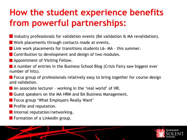 How the student experience benefits from powerful partnerships:
