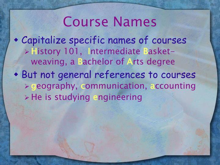 Course Names