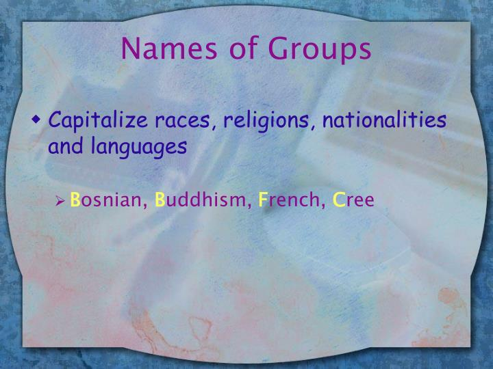 Names of Groups