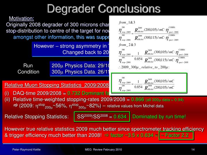 Degrader Conclusions