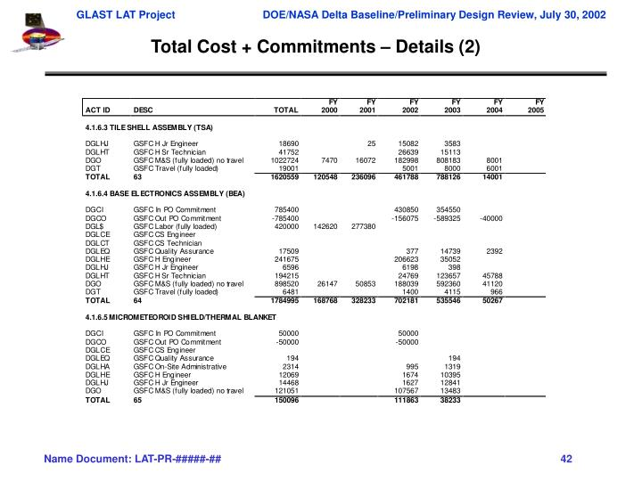 Total Cost + Commitments – Details (2)