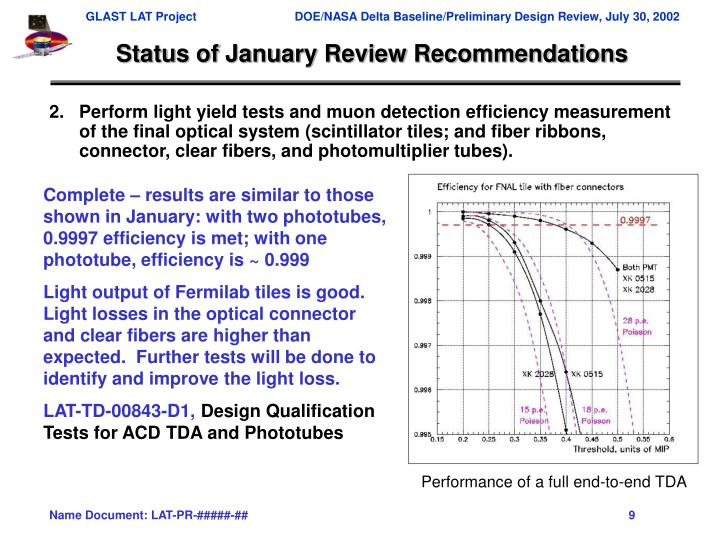 Status of January Review Recommendations