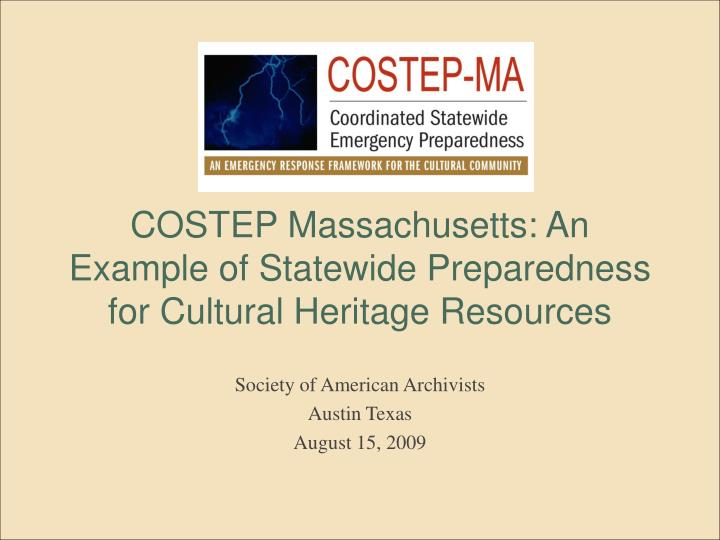 costep massachusetts an example of statewide preparedness for cultural heritage resources