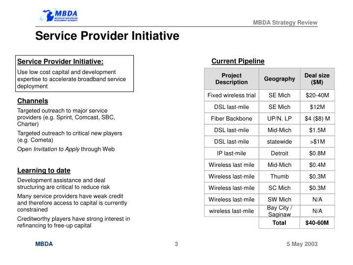 Service Provider Initiative