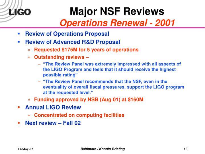 Major NSF Reviews
