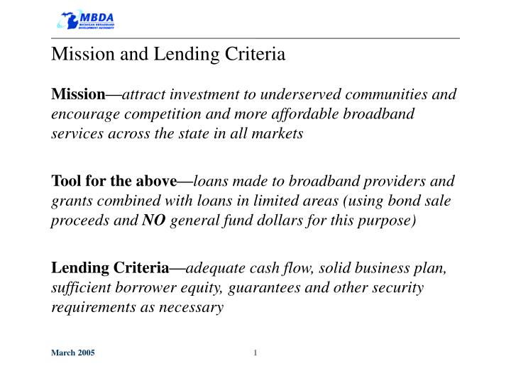 Mission and Lending Criteria