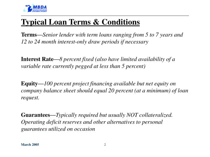 Typical Loan Terms & Conditions