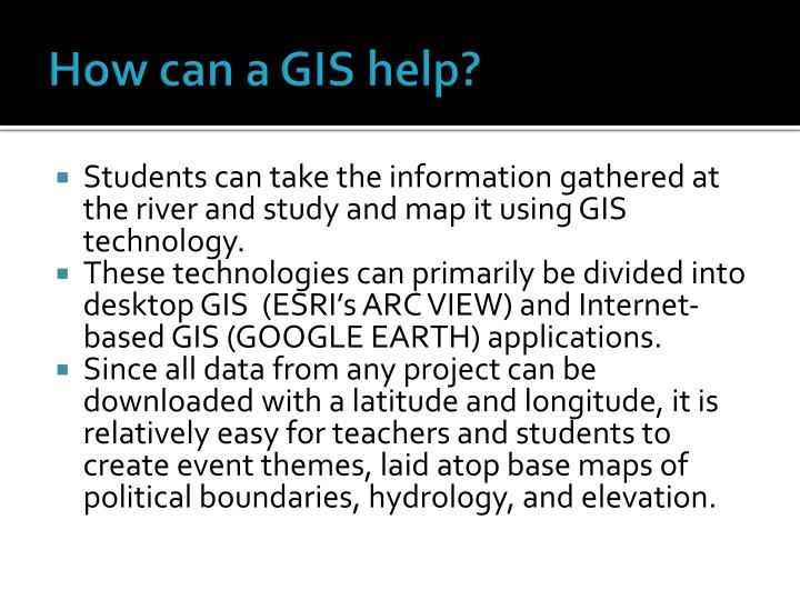 How can a GIS help?