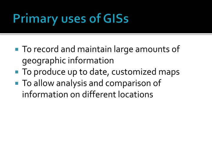 Primary uses of GISs