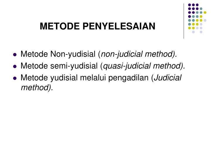 METODE PENYELESAIAN