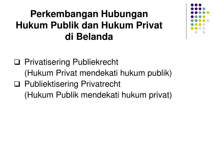 Perkembangan Hubungan Hukum Publik dan Hukum Privat di Belanda