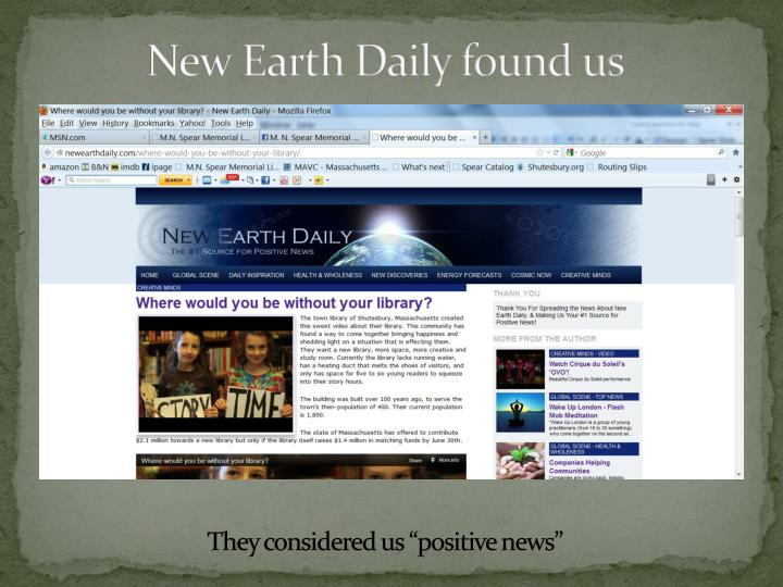 New Earth Daily found us