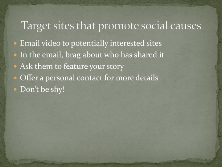 Target sites that promote social causes