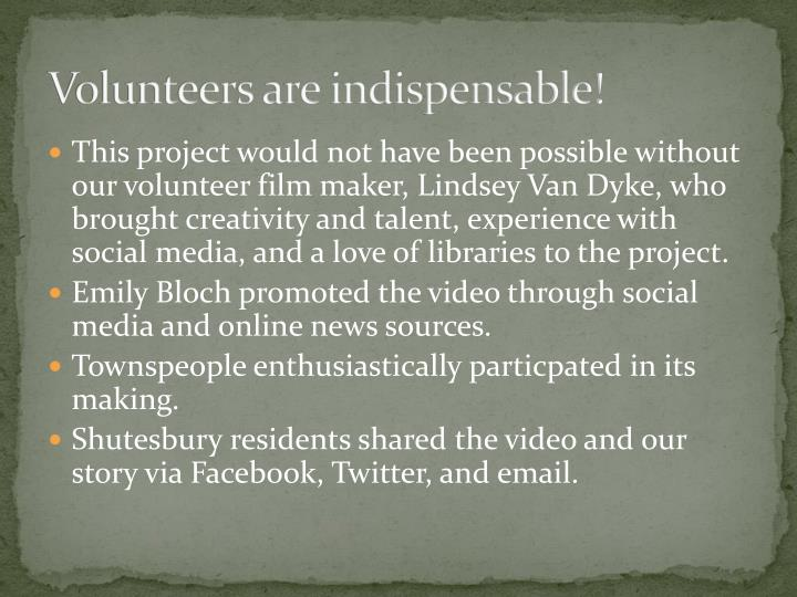 Volunteers are indispensable!
