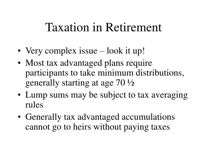 Taxation in Retirement