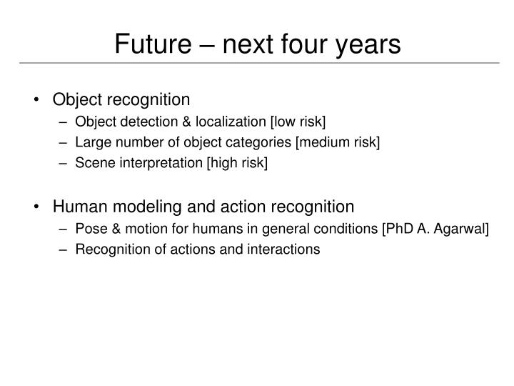 Future – next four years