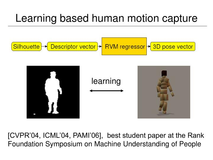 Learning based human motion capture