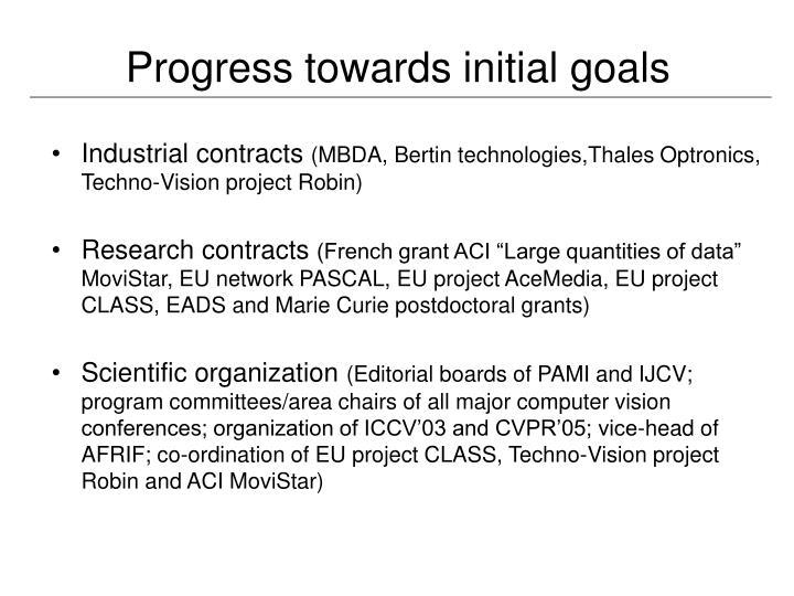 Progress towards initial goals