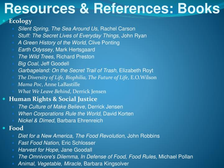 Resources & References: Books