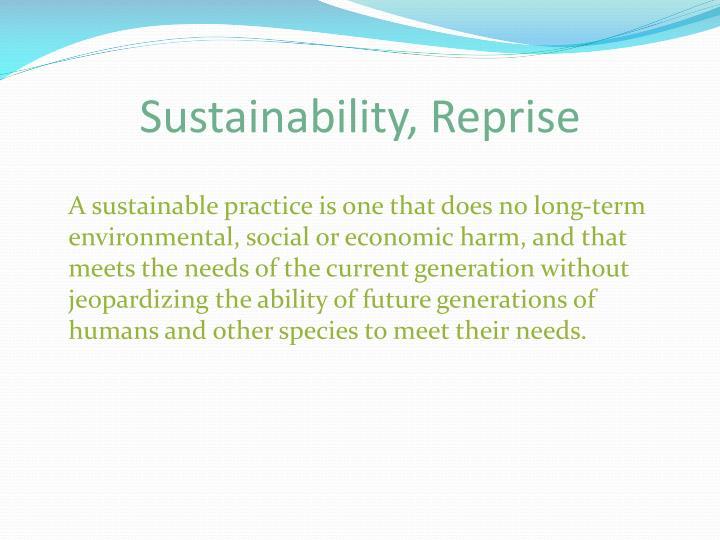Sustainability, Reprise