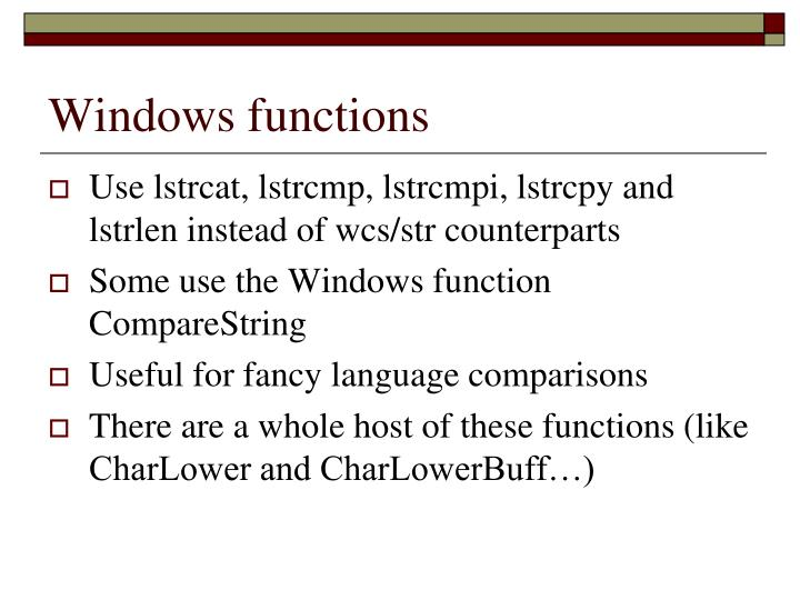 Windows functions