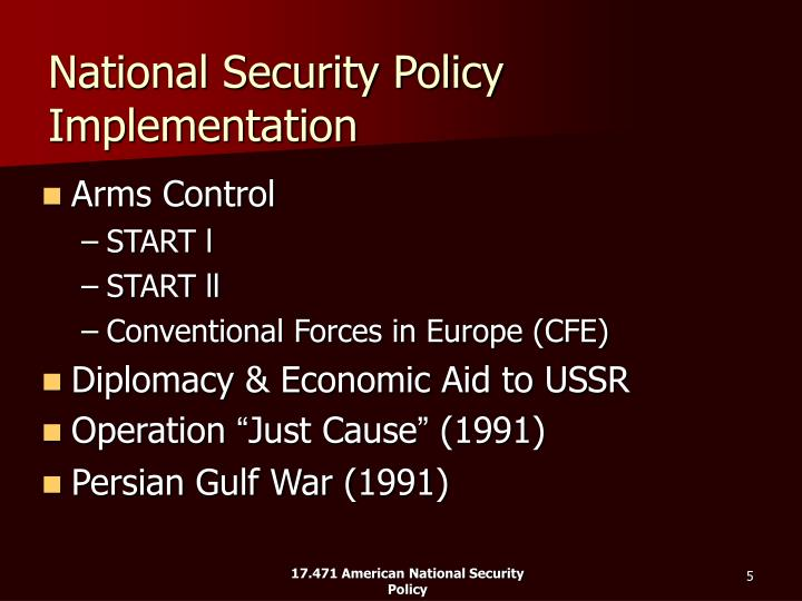 National Security Policy Implementation