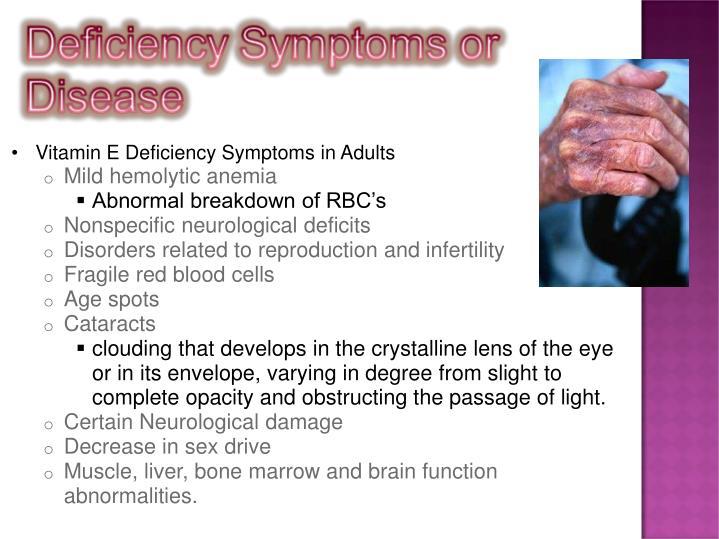 Vitamin E Deficiency Symptoms in Adults