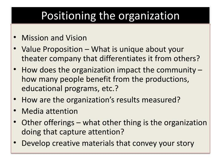 Positioning the organization