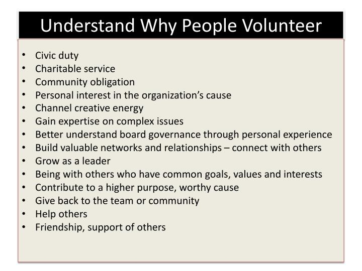 Understand Why People Volunteer