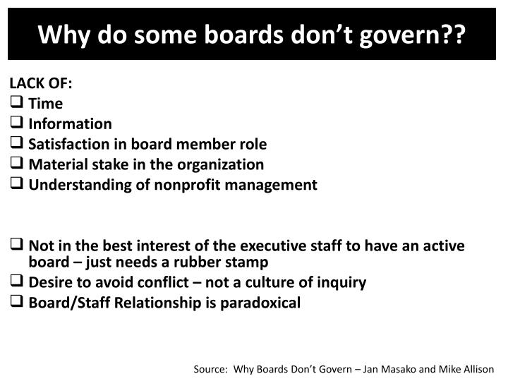 Why do some boards don't govern??