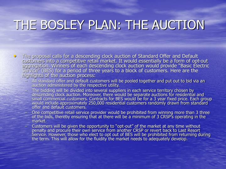 The bosley plan the auction