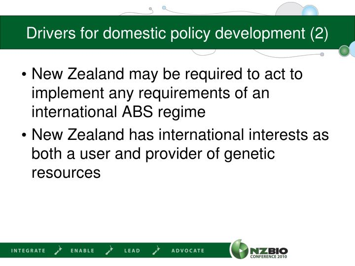Drivers for domestic policy development (2)