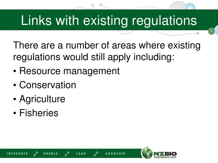 Links with existing regulations