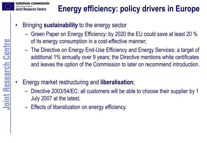 Energy efficiency: policy drivers in Europe