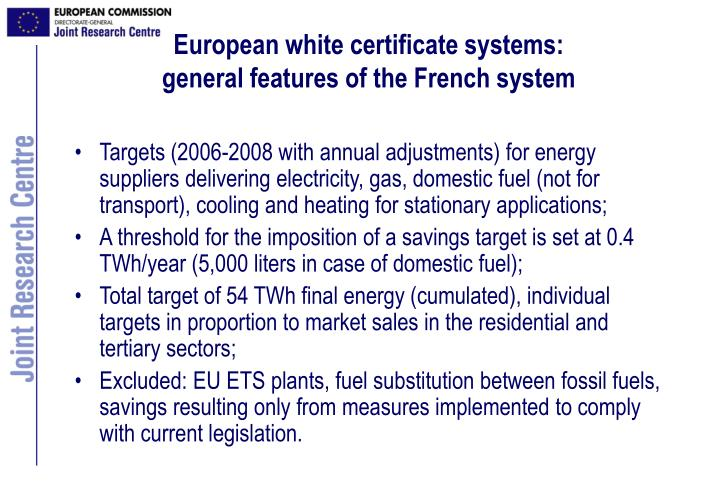European white certificate systems: