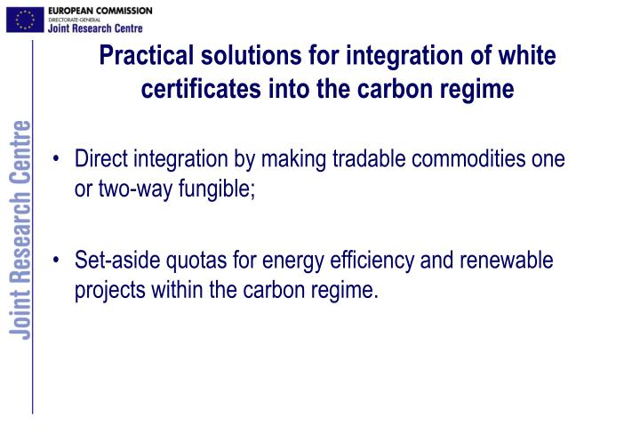 Practical solutions for integration of white certificates into the carbon regime