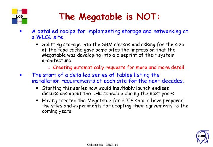 The Megatable is NOT: