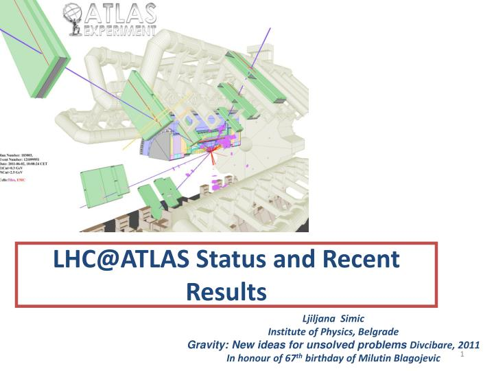 LHC@ATLAS Status and Recent Results